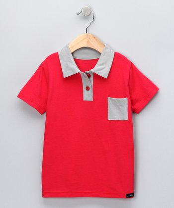 Red & Gray Polo - Toddler & Boys
