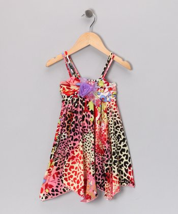 Coral & Purple Leopard Dress - Toddler & Girls