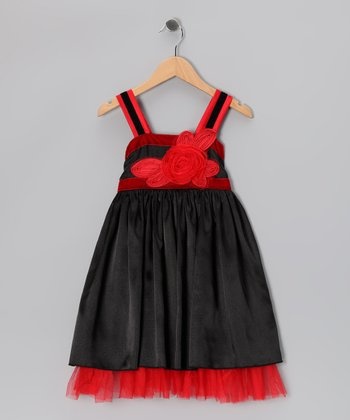 Black & Red Satin Mesh Dress - Girls