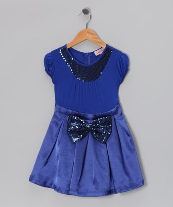 Royal Blue Sequin Collar Pleated Dress - Girls