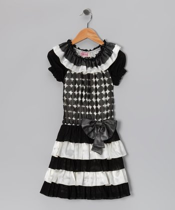 Black & White Polka Dot Tiered Dress - Girls
