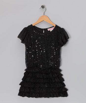 Black Sequin Ruffle Dress - Girls