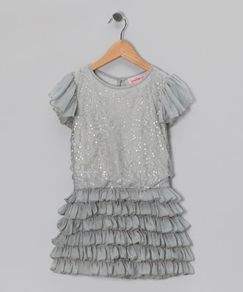 Silver Sequin Ruffle Dress - Girls