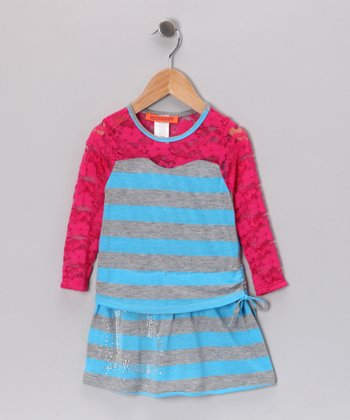Neon Blue & Pink Lace-Sleeve Dress - Toddler