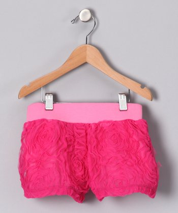 Fuchsia Rosette Lace Shorts - Girls