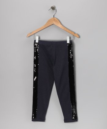 Blue Denim Sequin Stripe Leggings - Girls