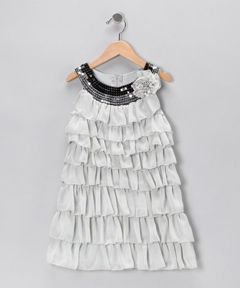 Gray Sequin Ruffle Dress - Toddler & Girls