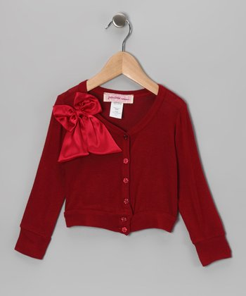 Red Satin Bow Cardigan - Infant, Toddler & Girls