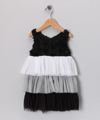 Black & Gray Tiered Dress - Toddler & Girls