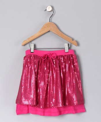 Fuchsia Sequin Skirt - Girls