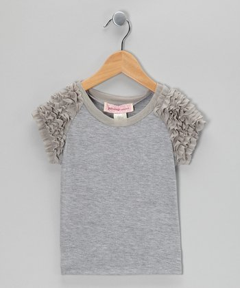 Heather Gray Frill Top - Girls