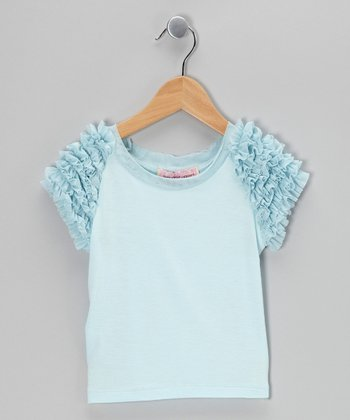 Aqua Mint Frill Top - Girls