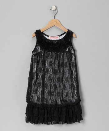 Black Lace Drop-Waist Tunic - Girls