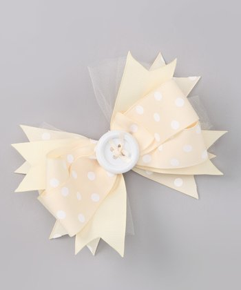 Ivory & White Polka Dot Bow