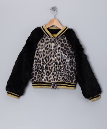 Brown Leopard Sequin Jacket - Toddler & Girls