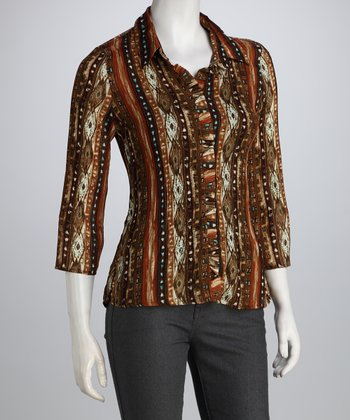 Orange & Brown Tribal Ruffle Button-Up
