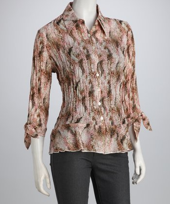 Pink & Beige Impressionist Button-Up