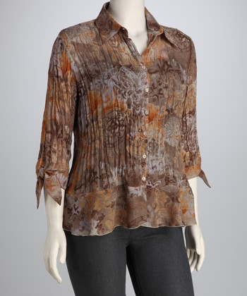 Orange & Brown Filigree Textured Button-Up
