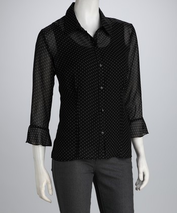 Black & White Sheer Polka Dot Button-Up