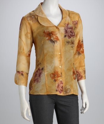 Yellow Rose Double Collar Button-Up