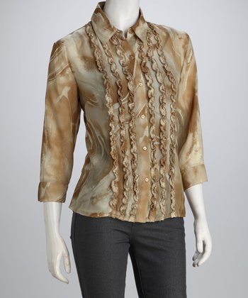 Brown & Natural Swirl Ruffle Row Button-Up