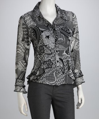Black & White Abstract Paisley Ruffle Button-Up