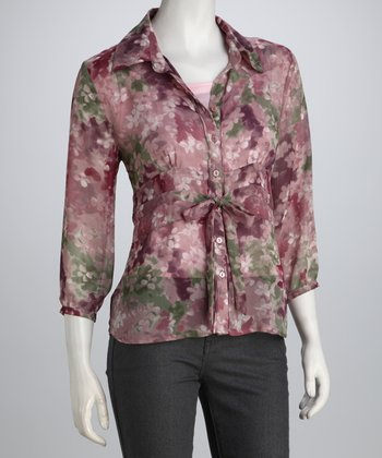 Mauve & Green Floral Tie Button-Up