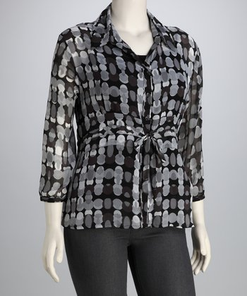 Black & Gray Abstract Dot Tie Button-Up