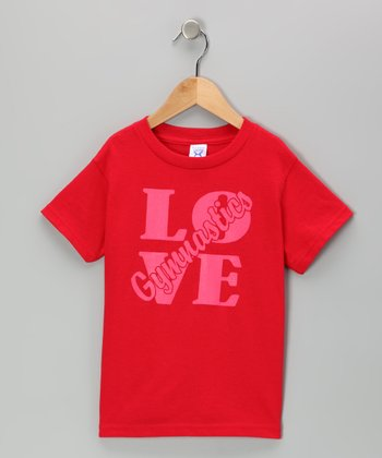 Peanuts & Monkeys Red 'Love Gymnastics' Tee - Toddler & Girls