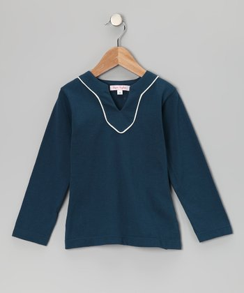 Winter Blue V-Neck Tunic - Toddler & Girls