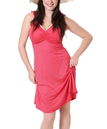 Coral Stripe Maternity & Nursing Dress