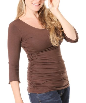 Brown Maternity & Nursing Three-Quarter Sleeve Top