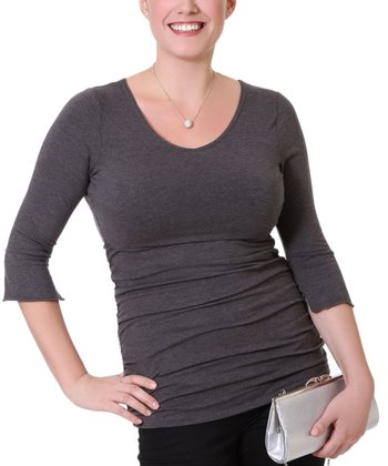 Charcoal Gray Maternity & Nursing V-Neck Top