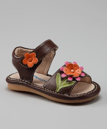 Brown Flower Squeaker Sandal