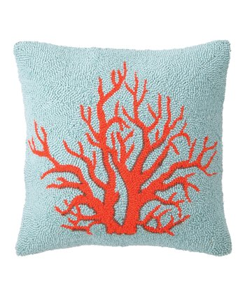 Red & Light Blue Coral Hook Pillow