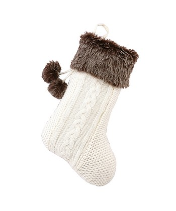 Ivory & Brown Faux Fur Pom-Pom Stocking