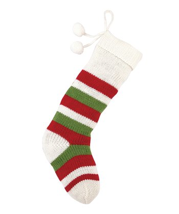 White Stripe Pom-Pom Knit Stocking