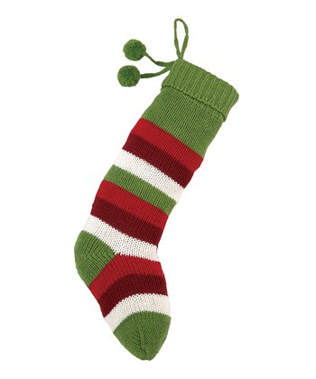 Green & Red Stripe Pom-Pom Knit Stocking