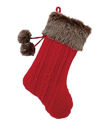 Red & Brown Faux Fur Pom-Pom Stocking