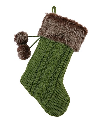Green & Brown Faux Fur Pom-Pom Stocking
