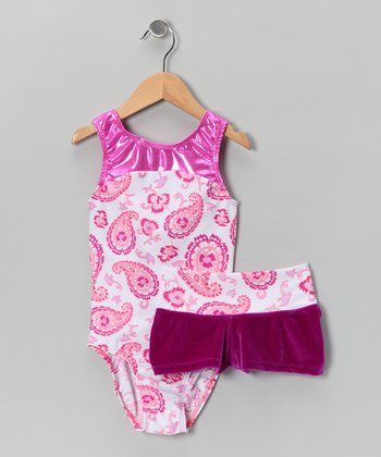 Orchid Paisley Leotard & Velvet Shorts - Girls