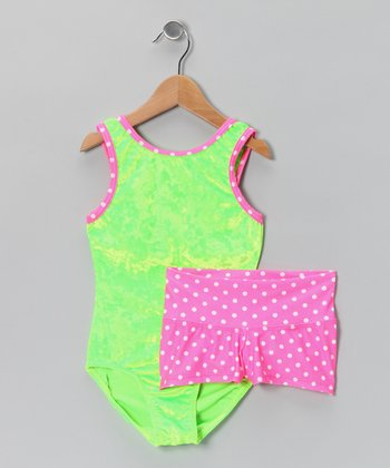 Green Watermelon Velvet Leotard & Pink Polka Dot Shorts - Girls