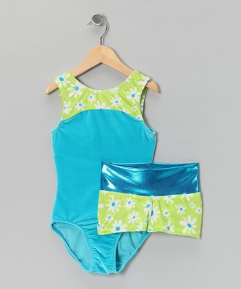 Lime Green Daisy Velvet Leotard & Foiled Shorts - Girls