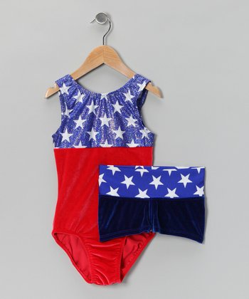 Red & Blue American Spirit Velvet Leotard & Shorts - Girls