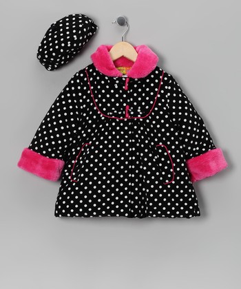 Penelope Mack Pink Polka Dot Coat & Hat - Toddler