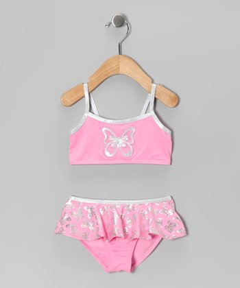 Pink & Silver Butterfly Skirted Bikini - Infant & Girls