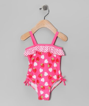 Pink Strawberry Heart One-Piece - Infant & Girls