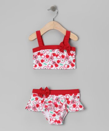 Red Cherry Blossom Skirted Bikini - Toddler & Girls