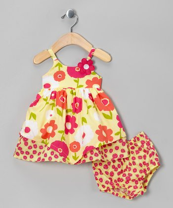 Yellow & Pink Floral Dress & Diaper Cover - Infant