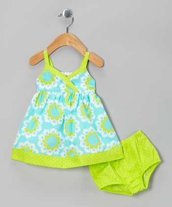 Green Floral Surplice Dress & Diaper Cover - Infant